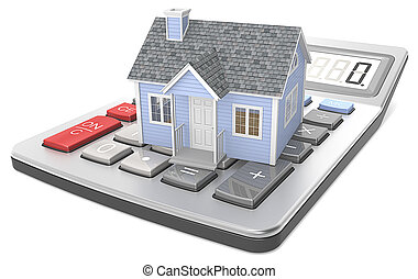 House Pricing. - Small blue house on a calculator.