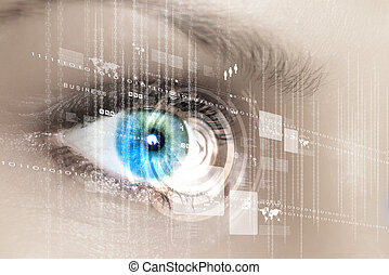 Digital eye - Eye viewing digital information represented by...