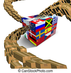 Global Delivery - Global delivery with a package box printed...