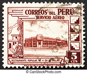 Postage stamp Peru 1938 Government Restaurant at Callao -...