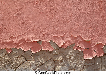 Friable peeling pink paint - Architectural background of...