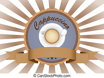 Cappuccino - illustration of Cappuccino in vintage badge