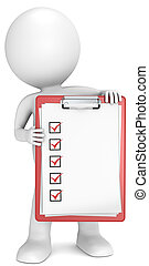 Check list. - 3D little human character holding a clipboard...