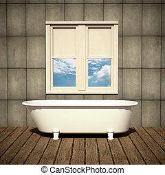 minimalist bathtub in a retro bathroom with plank wood floor