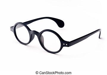Round eyeglasses - Old-fashioned round black eyeglasses,...