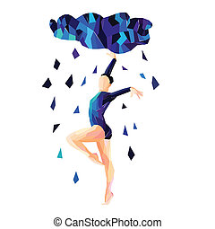 Abstract image of a dancing girl in the rain