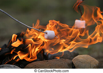 tasty treats - marshmallow on a stick being roasted over a...
