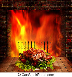 Grilled chicken Abstract food backgrounds for your design