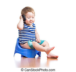 funny baby sitting on chamber pot with pda - funny baby...