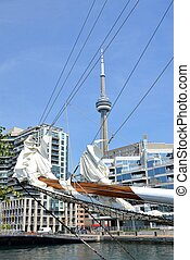 Toronto Harbour - view of the CN tower through the bowsprit...
