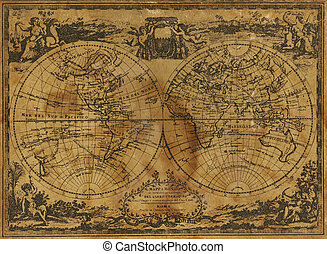 World Map - Ancient world map, circa 1788, showing the...