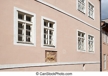 Prague - historic house with gold lion