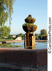 Santa Barbara Mission Fountain - The fountain in front of...