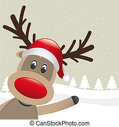 reindeer red nose wave - rudolph reindeer red nose wave...