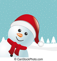 snowman scarf and santa claus hat - snowman with scarf and...