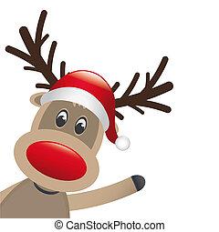 Rudolph, reno, rojo, nariz, onda