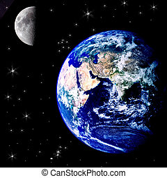 space , moon and earth - planet earth and moon in space,...