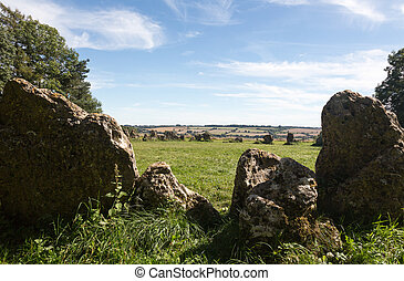 Rollright Stones stone circle in Cotswolds