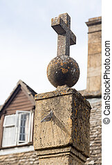 Old sundial in Stanton Cotswolds - Old sun dial topped with...