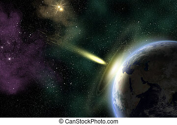 Earth and asteroid - Earth in space with a flying asteroid...