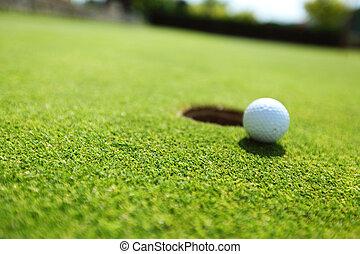 golf, balle, lèvre, tasse