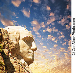 Mount Rushmore National Memorial with dramatic sky - USA