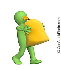 3d puppet, carrying in hands the big bag