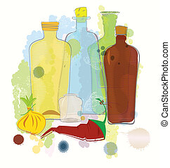 Water color bottles pepper and onion vector - Vector...