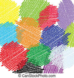 Crayon circles background - Vector background crayon look...