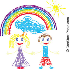 Crayon pained kids and rainbow - Vector illustration of...