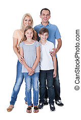 Portrait Of Happy Family On White Background - Portrait Of...