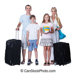 Happy Family With Luggage Going For Vacation Isolated On...