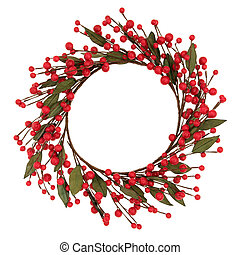 Red Bauble Wreath - Red bauble christmas wreath over white...