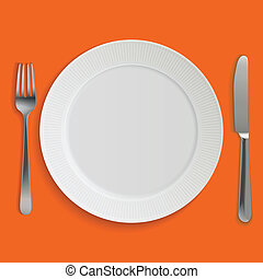 Empty realistic dinner plate, knife and fork - Dinner plate,...