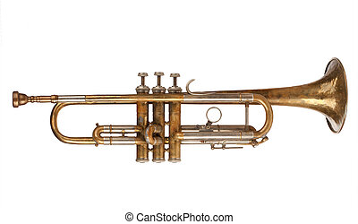 Brass Trumpet isolated over a white background