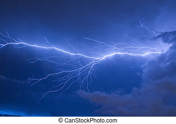 Lightning Strike - Telephoto of Blue lightning strike during...