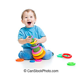 cheerful child playing with colorful toy isolated on white -...