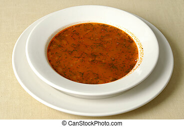 Plate full of soup - Plate with Russian soup -borshch