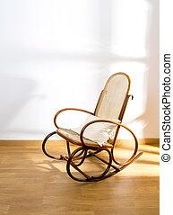 dourado, retro, balancim, madeira, Balanço, cadeira,...