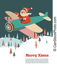 Christmas background with retro airplane and Santa