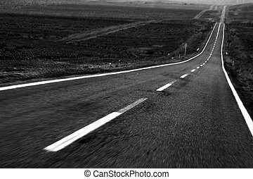 Black and White Speed Road - Black and White Road in Motion