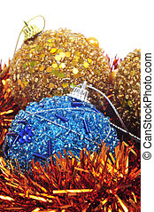 christmas balls and tinsel - some golden and blue christmas...