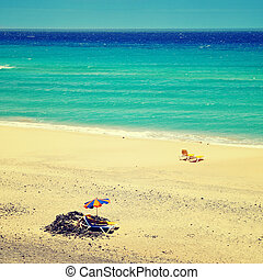 view of Mal Nombre Beach in Fuerteventura, Canary Islands,...