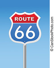 Route 66 road sign on Blue Sky