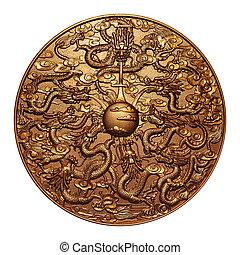 oro, nueve, dragón, alrededor, oro, Mármol