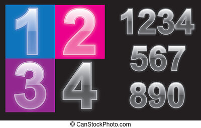 Glass numbers set with g - Glass rainbow numbers set with...