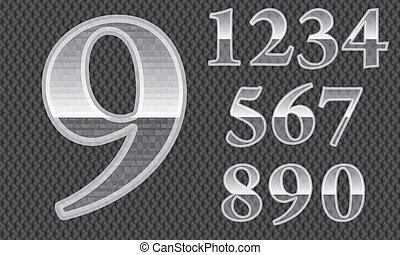 Glass numbers, from 1 to 9, silver