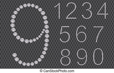 Diamond number set, from 1 to 9, vector