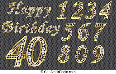 Happy  birthday, golden with diam