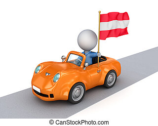 3d small person on orange car with Austrian flag.
